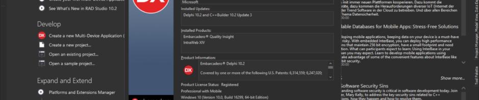 終於完成了Delphi XE 10.2.3的升級 感謝embarcadero及台灣QCom