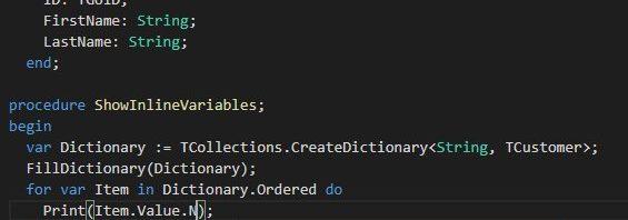 Delphi 10.3將支援行內變數