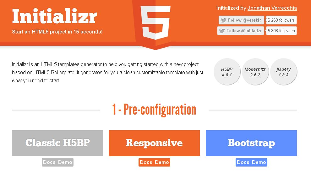 Initializr - Start an HTML5 Boilerplate project in 15 seconds