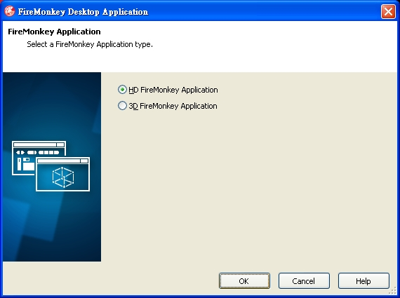 Select a firemonkey application type